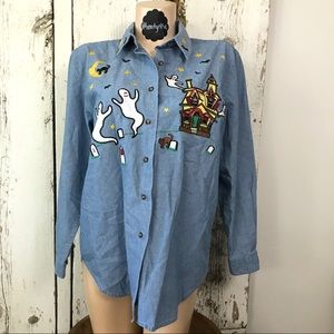Haunted house/ghosts Halloween denim shirt